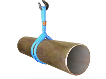 A water main pipe is wrapped with a sling